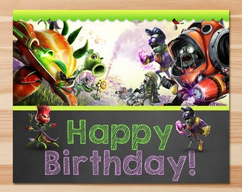 Plants Vs Zombies Garden Warfare Happy Birthday Sign - Green Chalkboard - PVZ Sign - PVZ Birthday Party - PVZ Party Printables - Cake Image