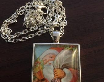 Vintage handmade Santa necklace