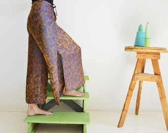 One size pants for woman, OOAK thai pants in golden blue silk, very light pants for the summer, SPECIAL OFFER!