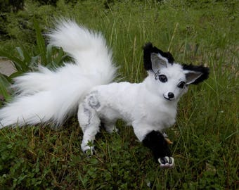 Kitsune, White Kitsune with three tails, three tails fox, white fox, Japan folklore, art doll, pose able fox, poseable doll, 9""