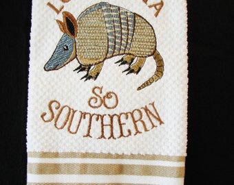 Embroidered Louisiana Armadillo Cotton Kitchen Towel