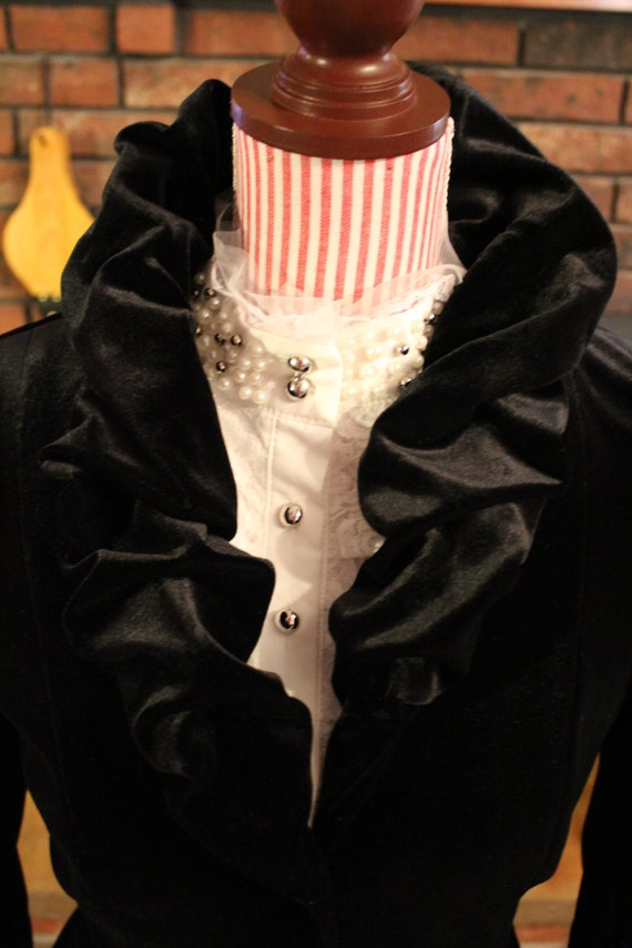WOW! 3- Piece Victorian Black Velvet Costume with Gorgeous Lace and Pearl Blouse for Victorian Christmas or Dickens Theater Production