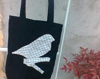 Black cotton Tote bag with bird appliche