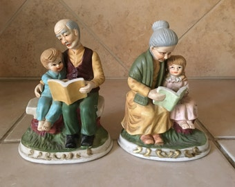 Vintage Grandparents and Grandkids Figurine - Grandmother Grandfather reading stories on a bench - Made in Korea