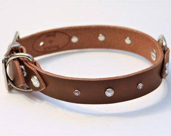 Small PLUS+ Genuine Leather Dog Collar (DarkBrown) 15''