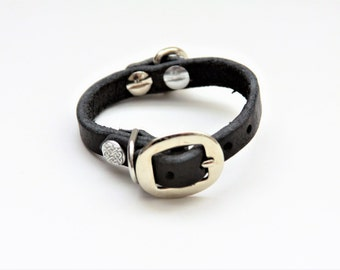 XX-Small Cat Collar Genuine Leather (Black) 9''