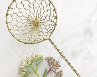 Small Brass Wire Strainer Vintage Kitchenalia
