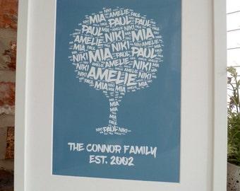 Personalised Family Tree Print, Personalised Family Tree Print,  Word Art Print, Unframed Print, Personalised Print, Family Tree