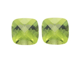 1.15-1.42 Cts of 5 mm AA (Slightly Included) Loose Peridot ( 2 pcs ) Cushion Checkered Board-337155
