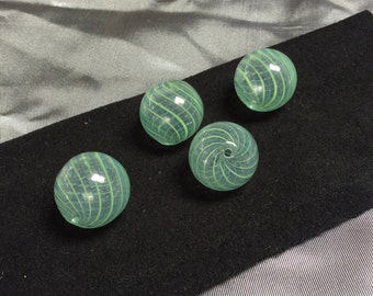 Hand blown glass green/blue striped orbs - 4 pieces - #797