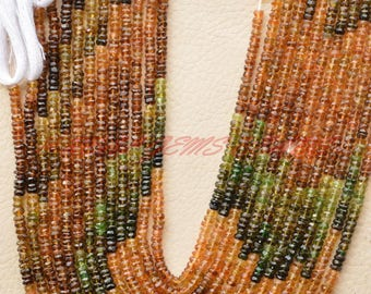 14 Inches Strand, Natural Petrol Tourmaline Rondelles, Tourmaline Faceted Rondelle Beads, 4 MM Size, Loose Gemstone Roundel Beads