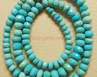 16 Inches Strand, Natural Arizona Turquoise Rondelles, Turquoise Faceted Rondelle Beads, 3.50-7 MM, Sleeping Beauty Turquoise Beads