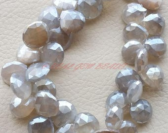 8 Inches Strand, Mystic Coated Grey Moonstone Briolettes, Grey Moonstone Faceted Heart Shape Briolettes, 11-13 MM, Moonstone Beads