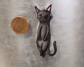 Handmade Black long tailed short haired cat