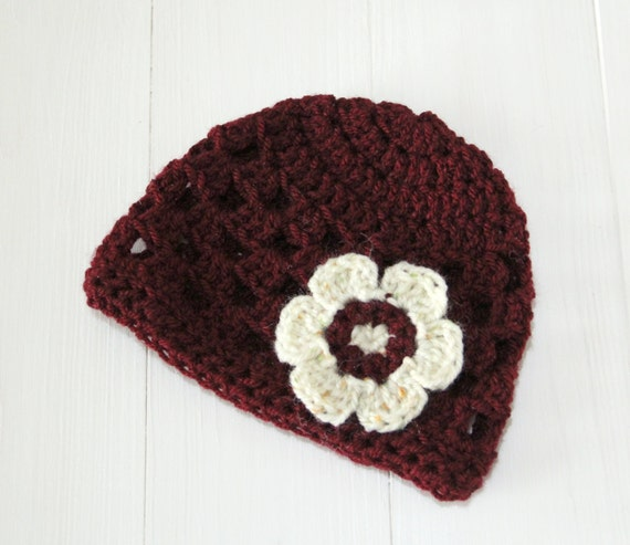 Hat, Baby hat, Baby girl hat, Baby beanie, Baby beanie hat, Burgundy hat, Newborn hat, Newborn baby hat, Crochet baby hat, Ready to ship,
