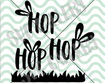 Easter SVG, Hoppy Easter SVG, hop hop hop svg, Easter bunny svg, happy easter svg, Digital cut file, bunny svg, commercial use OK
