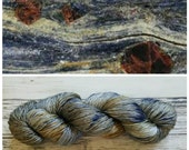 Luxe Fingering, Hand Dyed Yarn, Merino, Silk Sock Yarn, Perfect for Extra Special Luxurious Lightweight Projects - Variegated Glaucophane