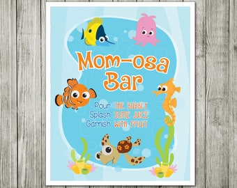 Mom Osa Bar Sign, Finding Nemo Mom Osa Bar, Baby Shower Sign,