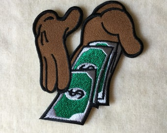 Hands With Money Iron On Patch #Brown