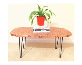 Artisan Copper Hammered Coffee Table with Hairpin Legs