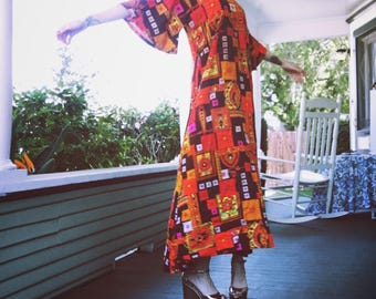 1960s-1970s Psychedelic Print Hippie Bell Sleeve Boho Maxi Dress from Two Potato Laguna Beach