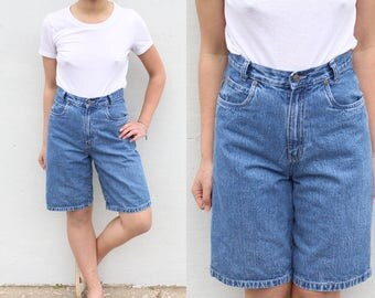 Dark Wash Denim High Waist Shorts