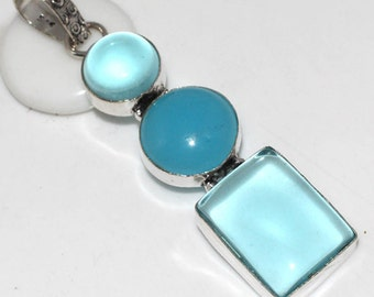 Chalcedony and Blue Quartz Silver Pendant