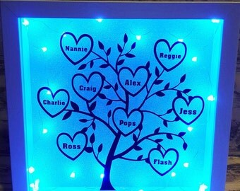 Family Tree Light Up Box Frame