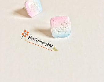 Kawaii Gradient Square Stud Earrings, Cute Glitter Pink Blue Studs, Gift for Her