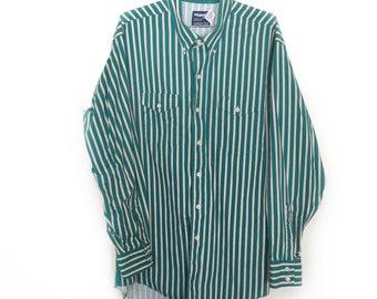 Wrangler Cowboy Cut Striped Shirt - Tan and Green - Vintage 1980s