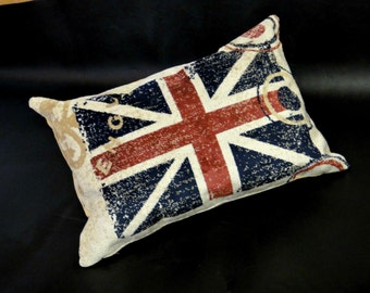 London cushion cover Decorative case pillow 16x20 Union Jack Vintage patriotic gift English flag Classroom Home decor Accent pillow outdoor