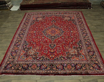 Traditional S Antique Signed Red Mashad Persian Rug Oriental Area Carpet 10X13