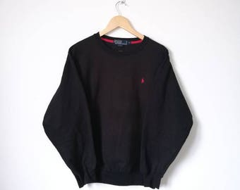 On Sale!! Vintage 90s POLO Ralph Lauren Small Logo Jumper Sweatshirt  Black Colour Streetwear Celebrity Fashion Size M
