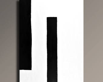 Large ABSTRACT PAINTING Black White Painting Original Canvas Art Contemporary Modern Minimal Art 48x36 wall decor - Unstretched - 52WB