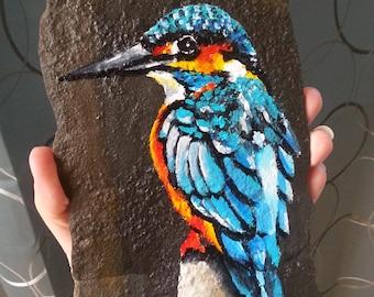 Kingfisher Slate Rock Painting