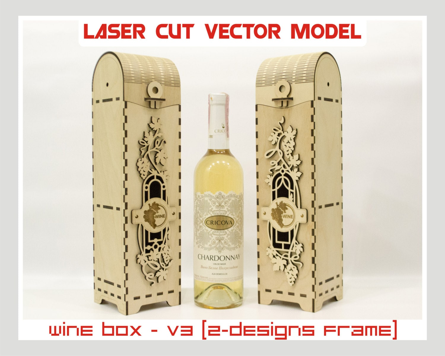 Wine box wood wine box plywood wine box laser cut vector for Laser cut wood box template