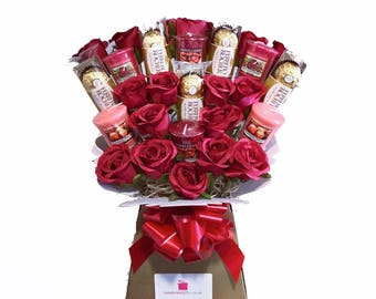 Yankee Collection Candle, Silk Red Roses & Ferrero Rocher Chocolate Bouquet