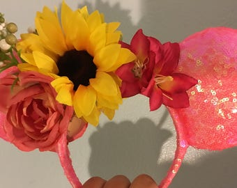 Summer Sunset Flower Crown Ears