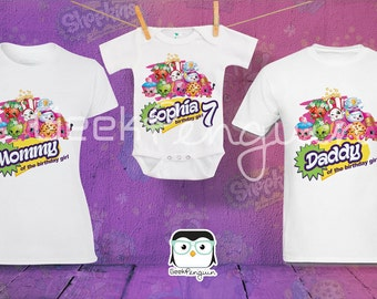 Shopkins Birthday Shirt Custom personalized shirts for all family, Shopkins Party Tee,