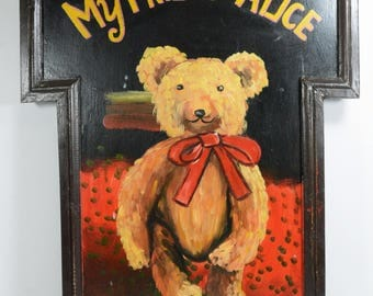 "Vintage Toy Store Sign Hand Painted Tole Folk Art ""My Friend Alice"" Janson Toys 21"""
