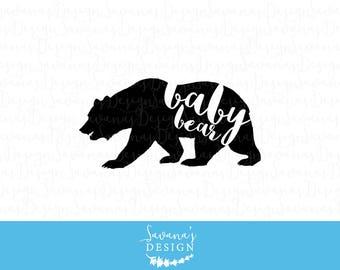 Baby Bear svg, baby bear decal, baby bear dxf, baby bear svg file, baby bear cut file, baby bear eps, cricut svg cutting file