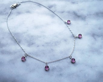 Rose Crystal Necklace, Swarovski Crystal Necklace, Pink Necklace, Rose Necklace, Crystal Jewelry, Crystal Drop Necklace, Minimalist Crystal