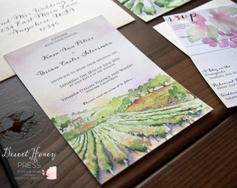 Vineyard Wedding Invitation - Winery Invite - Vineyard Wedding Suite - Vineyard Watercolor Invite