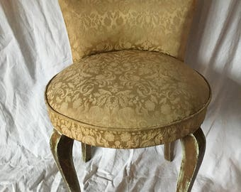 "Pretty French Vintage Silk Covered Early 19th Century Boudoir Chair ""Chauffeuse"" / Vanity Chair / Charming Regency French Bedroom Chic"