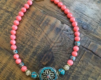 Coral Mother of Pearl Necklace with Tibetan Disc
