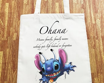 Disney Stitch Ohana Break Out Tote Canvas Shopper Bag