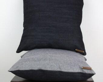 Reverse Denim on Indigo Denim Back Cushion Cover - Modern, Handmade Pillow
