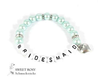Bridesmaid bracelet gift wedding accessoires letter name pearl