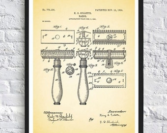 Gillette Razor print patent art print vintage antique print wall art print home decor bath room decor poster man gift  8x12 12x16