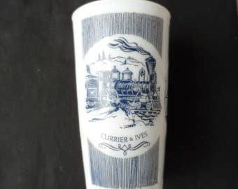 Vintage 1950s Anchor Hocking Currier And Ives Hazel Atlas Milk Glass     1261